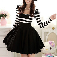 2012 New Women's Winter Black And White Striped Bubble Long-Sleeved Dress With Embedded Chiffon Bowknot Decoration - 12733892632