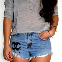 Vintage High Waisted Denim Shorts Drip Letters
