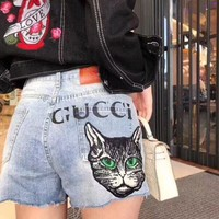Gucci Popular Woman Personality Cat Letter Print A Pair Of Jeans Shorts I