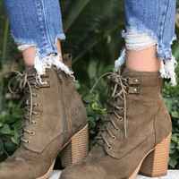 Ravi Olive Lace Up Booties