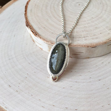 Micro-Faceted, Glittery Gold Obsidian Cabochon with 14KY Gold Dot Accent, Gemstone Bezel Pendant with Rolo Chain, Two-Tone Necklace, Unique