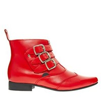 Underground Blitz Winklepicker Red Ankle Boots at asos.com