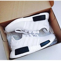 """Adidas"" Women Men Trending NMD Running Sports Shoes White(white-black soles)"