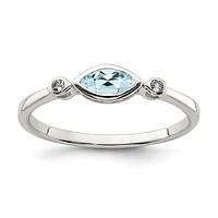 Sterling Silver Bezel Set Marquise Aquamarine And White Topaz Ring