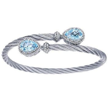 Gabriel Steel and Sterling Silver Blue Topaz Cable Bangle
