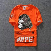 Bape Aape Popular Summer New Casual Print T-Shirt Round Collar Top Orange I-Great Me Store