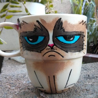Grumpy Cat Hand Painted Stackable Mug by TheCornerGeekery on Etsy