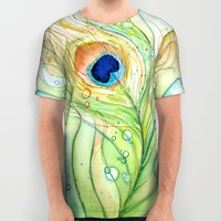Peacock Feather All Over Print Shirt by Olechka