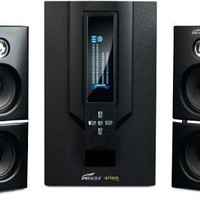Arion Legacy AR504LR-BK 2.1 Speaker System with Subwoofer & Remote for MP3, PC, Game Console & HDTV - Black, 70 Watts