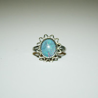 Size 7-Vintage Opal stone Sun inspired Womens Ring Sterling Silver- free ship US