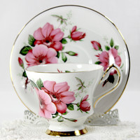 Society Pink Dogwood Roses Teacup and Saucer, Bone China Tea Cup, England 12627