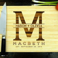 Personalized Cutting Board (Pictured in Natural), approx. 12 x 16 in., Wedding Monogram, Date Established - Wedding gift, Housewarming gif