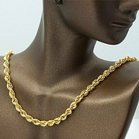 SOLID 8K Yellow Gold Rope Chain Necklace Heavier Pendants 39 Inch
