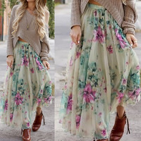 Fashion Flower Floral Chiffon Skirts Sexy Ladies Printed Irregular Long Skirt  Summer Beach Vestidos LX121