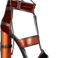 Tom Ford - Paneled leather, velvet and satin sandals