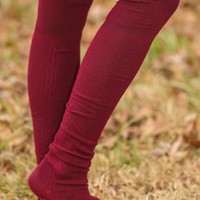 On The Other Foot Boot Sock-Burgundy