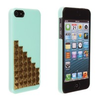 Bling Pyramid Punk Studs Hard Case Cover For iPhone 5 5S (Golden Rivets+Mint Green)