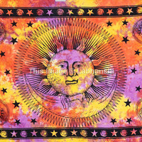 Bohomian Hippie Celestital Sun Wall Hanging , Indian Tie dye Moon Tapestry Throw Bedspread , Dorm Tapestry , Decorative Wall Hanging