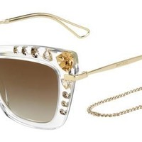 Jimmy Choo - Bee S Crystal Gold Sunglasses / Gray Gold Lenses