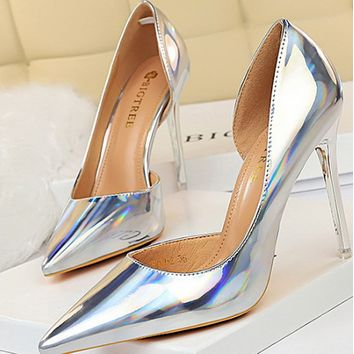 Metallic stiletto sexy shoes with shallow mouth and side cutout