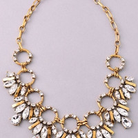 Open Circle and Teardrop Rhinestones Brass Statement Necklace - Clear or Rose