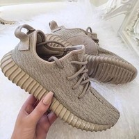 Fashion Adidas Yeezy Boost Solid color Leisure Sports shoes Khaki