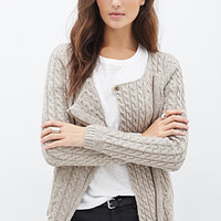 LOVE 21 Cable Knit Asymmetrical Cardigan Cocoa
