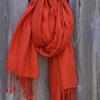 Red/Orange Solid Long Scarf