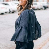 Sienna Navy Button Back Blouse