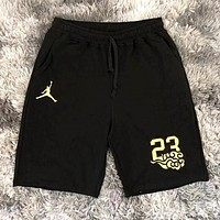 Jordan Summer New embroidery letter couple sports leisure shorts Black