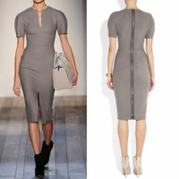 Elegant Slit Neckline Short Sleeve Womens Wear to Work Formal Pencil Dress Grey