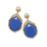 Ornate Gold Tone Fashion Earrings with Blue Acrylic