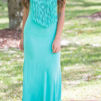 Blue Fringed Strappy Maxi Dress