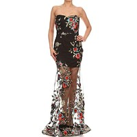 Black  mesh strapless relaxed fit a-line maxi dress with sweetheart neck