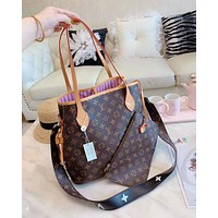 Louis Vuitton LV Women Shopping Leather Tote Handbag Shoulder Bag Purse Wallet Set Two-Piece