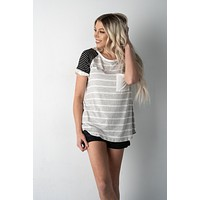 Grey and White Striped Pocket Top with Black Sleeves