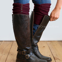 GRACE & LACE: Ruched Boot Cuffs - Wine