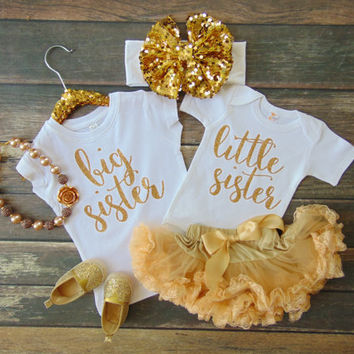 Big Sister & Little Sister Set - Big Sister T-Shirt  - Little Sister White Bodysuit Set - Matching Gold Glitter -  Ann Marie Avenue