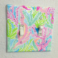 Lilly Pulitzer Let's Cha Cha Hand Painted Double Switch Plate