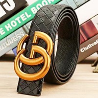 GUCCI Fashion New GG Buckle Leather Women Men Leisure Belt