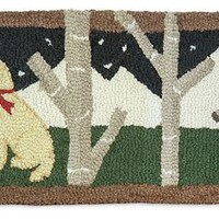 DOGS WELCOME on Brown Hooked Wool Hearth Rug 1'x6'