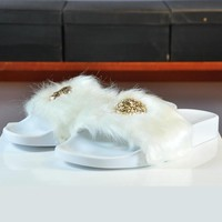 Versace Woman Fashion Fur Sandal Slipper Shoes