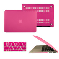 """Rubberized Laptop Case Cover & Keyboard Skin for Macbook Air Pro Retina 11"""" 12"""" 13"""" 15"""" Hot Pink Free Shipping"""