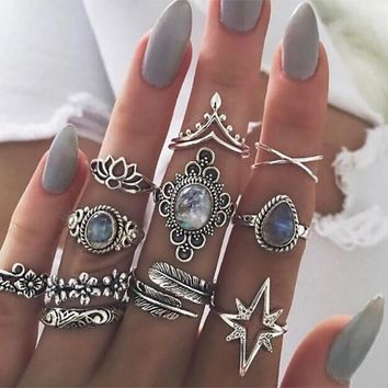 Vintage Boho Blue Crystal Lotus Flower Ring Set