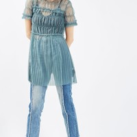 Tulle Ruched Tee Tunic | Topshop