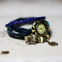 Fantasy Vintage Butterfly Clover Wrap Watch