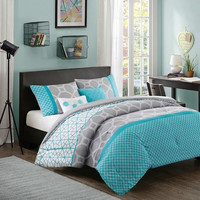 Full / Queen Size Aqua Geometric Blue / Gray Comforter Set