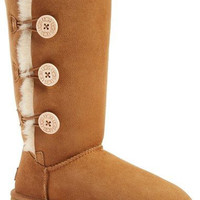 """UGG"" Women Fashion Wool Snow Boots three Button Chestnut"