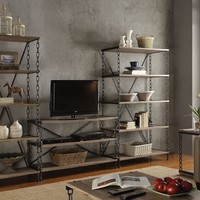 3 pc Jodie collection rustic oak finish wood and antique black metal frame TV entertainment center