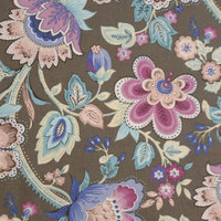 Cotton Fabric, THISTLEBERRY Taupe Large Floral Keepsake Calico Print 1 Yard Gorgeous Colors Excellent Fabric for Creative Genius Projects